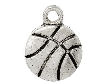 5 Pieces Antique Silver Basketball Charms