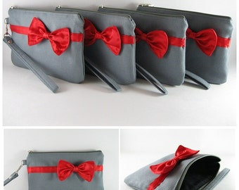 SUPER SALE - Set of 5 Gray with Little Red Bow Clutches - Bridal Clutches, Bridesmaid Clutches, Wedding Gift, Zipper Pouch - Made To Order
