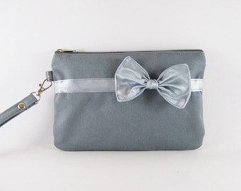 SUPER SALE - Gray with Little Silver Bow Clutch - Bridal Clutch, Bridesmaid Wristlet,Wedding Gift,Cosmetic Bag,Zipper Pouch - Made To Order