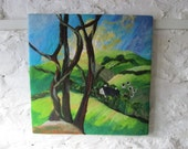 large textile art, wet felted art, abstract trees, landscape, 20 x 20 inches