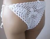 White rochet bikini bottom brazilian bikini swimsuit women beachwear lace bikini bottoms swimwear bikini