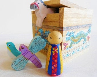 Chinese wood box toy set for learning geography science social studies art montessori waldorf homeschool