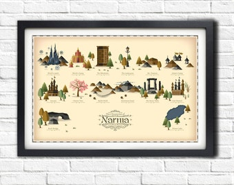 Narnia Locations Map - 19x13 Poster