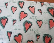 NEW Clothworks All My Heart Fabric by Iron Orchid Designs in Light Turquoise 1 yard
