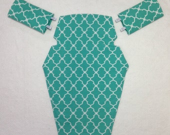 Jazz and Go baby carrier cover and strap pads for Beco Gemini for baby wearing in aqua and white trellis cotton fabric