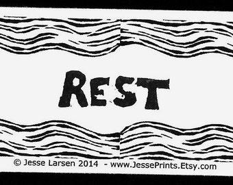 Magnet. Words. Rest & design block prints by Jesse Larsen. Ivory-colored business card size. Artful reminder. Soulful, smart, sustainable.