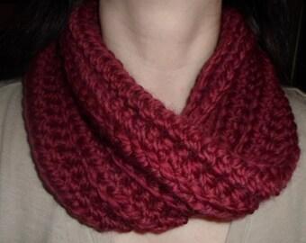 Ready to Ship (Teen/Adult) Crocheted Womens Short Infinity Cowl, Neckwarmer