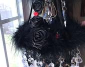 Black Beauty Crystal Mobile Marabou Goth Chandelier Lace Boudoir Sun Catcher