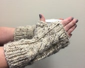 Beige Knit Fingerless Gloves Wool Cabled Texting Gloves - Oatmeal