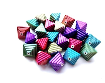 10 Multicolor Chameleon Beads 15 mm Bicone Acrylic Beads Jewelry making Supplies