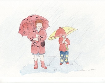 Children under Umbrellas - Pixie Vignette