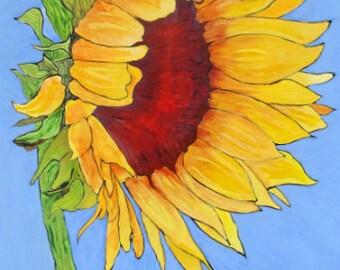 "Yellow Sunflower on Blue Sky Art Print - ""Blue Skies Smilin' at Me"" by Lorraine Skala"