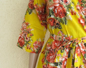 Yellow Bridesmaid Robe/ Getting Ready Dress/ Yellow with Red and pink Flowers/ Mix and Match Floral Kimono Robes - Color Code - C-6