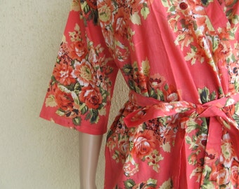 Coral Bridesmaid Robe/ Getting Ready Dress/ Coral with Red and pink Flowers/ Mix and Match Floral Kimono Robes - Color Code - C-12