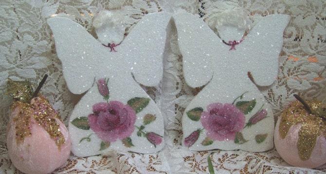 Pair of Handmade Wooden angels - Handpainted roses - German Glass Glitter - Lge. Size