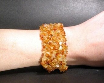 """Bracelet Citrine Stretchy Cuff Nuggets 1.5"""" Wide BSCT0075"""
