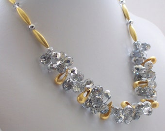 Crystal Necklace, Silver Necklace, Gold Necklace, Beaded Necklace, Fashion Jewelry, Wedding Jewelry