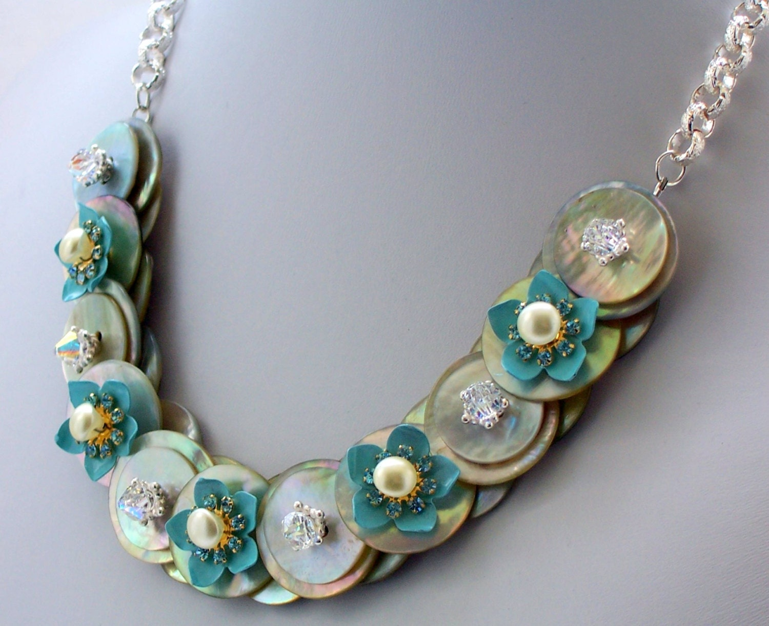 Mother of pearl button necklace floral necklace blue button - Swarovski crystal buttons ...