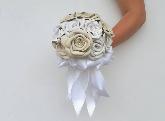 Bouquet, Leather Flower Bridal Bouquet With Satin Bow