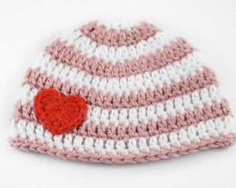 Pink and White Striped Baby Hat with Heart // Newborn Crochet Hat // Baby Girl Hat