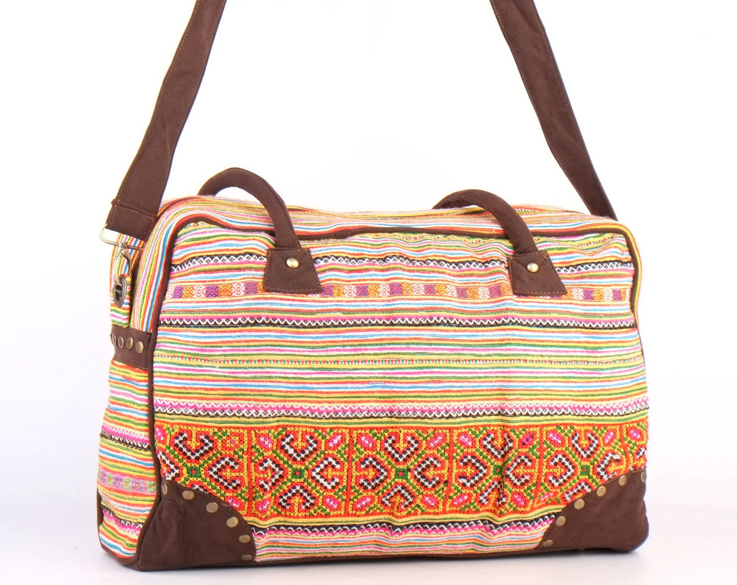 Overnight weekender travel bag ethnic embroidered by tatonyon