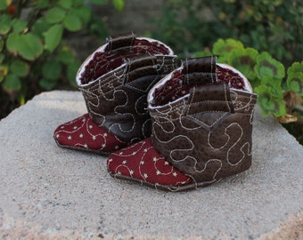 Western Baby Booties | Faux Leather Vegan Infant Cowboy Cowgirl Boots