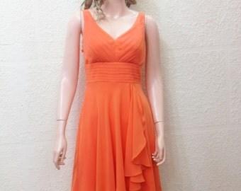 Orange Chiffon Dress.Bridesmaid Dress