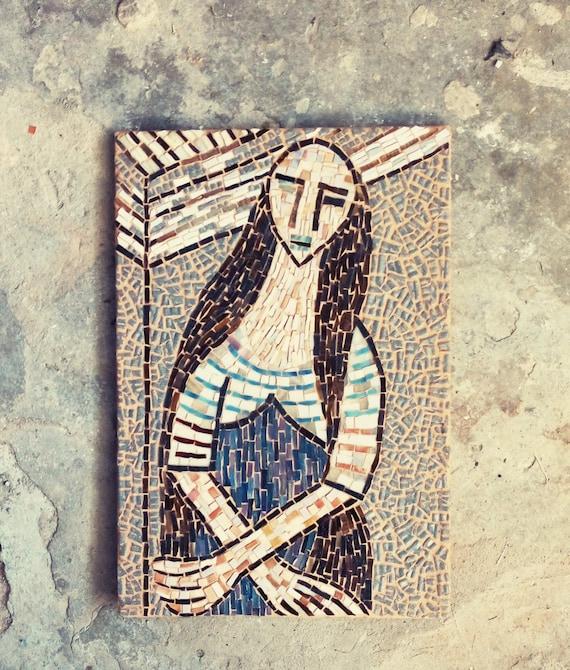 Mosaic art / cubism style mosaic / rose, azure, grey / WOMAN With LONG HAIR / Lam, mosaic portrait / wall art / glass mosaic
