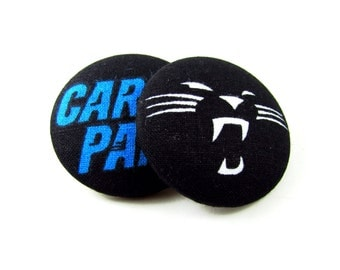 Oversized Carolina Panthers Print Button Earrings