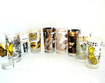 Vintage State Souvenir Glasses