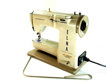 Vintage Elna Automatic Sewing Machine Beige Portable Sewing Machine