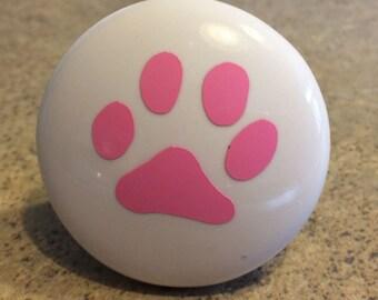 Puppy Dog Paw Print Ceramic Knobs with Vinyl Paw Print set of 4