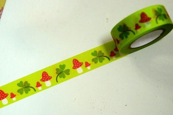 1 Roll of Japanese Washi Masking Paper Tape -Cute Mushroom