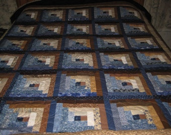Log cabin quilt, brown and blue quilt, queen size log cabin quilt