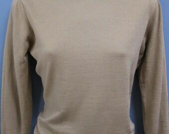 Vintage 1960's Jaeger Wool Mockneck Sweater British Knit Jumper Pullover
