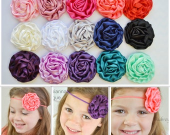Pick any color, Satin rolled baby headband, newborn headband, headbands, baby hair bow, newborn photo prop, accessories