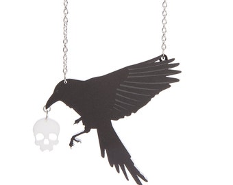 Raven necklace - laser cut acrylic
