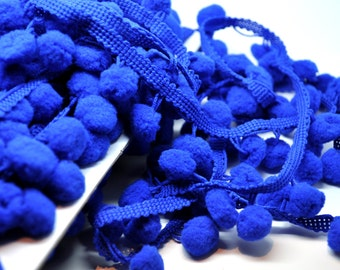 ROYAL BLUE 1 yard sample pom pom fringe - 1 inch trim - party garland - gift wrap - papercraft - sewing