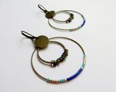 Bronze old hoops with beads turquoise and Royal Blue