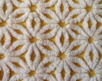 "Curry Gold Hofmann Daisy Vintage Chenille Bedspread Fabric Piece...12 x 19"""