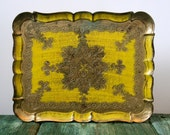 Italian yellow and gold wooden tray