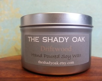 Hand Poured Driftwood Soy Wax Candle in 8oz tin