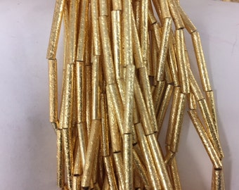 18mm tube brushed, gold plated copper beads, 11beads
