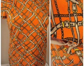 Ann Taylor 65% Silk knit Sweater top w Cap Sleeves Vintage 80s 90s Buckles and Chains design Orange T shirt style Light Sweater Very soft