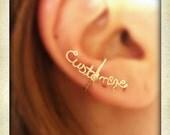 Customized wire ear cuff, word ear cuff, personalized ear cuff, Wire ear cuff, no piercing