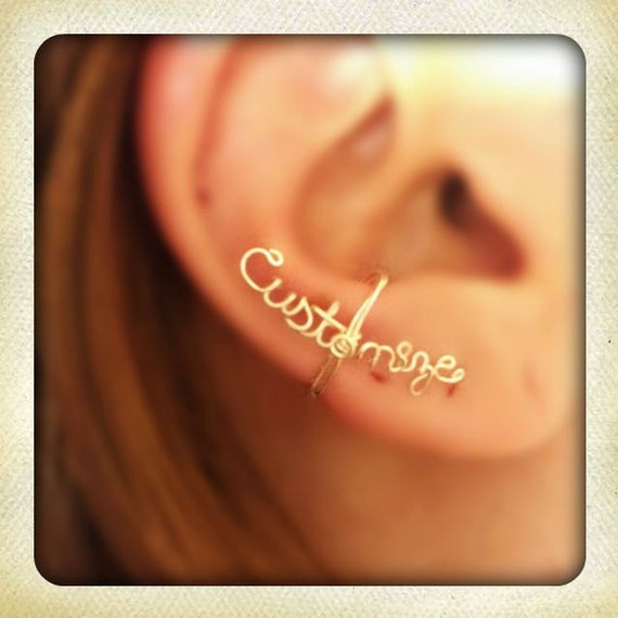Customized wire ear cuff, word ear cuff, personalized ear cuff, Wire ear cuff, no piercing