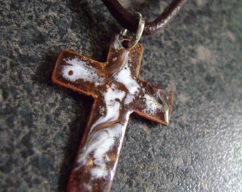 CROSS - Enamel Pendant, Enamel Necklace, Christmas Gift, Enamel Jewelry, Christian Pendant, Christian Jewelry, Brown Cross, Brown Pendant