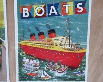 vintage PLAYSCHOOL PUZZLE cardboard BOATS transportation travel ephemera kids
