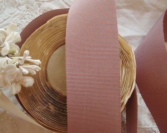 """1y Antique French 1930s Mauve Lilac 1 3/8"""" Wide Cotton & Rayon Grosgrain Millinery Ribbon Trim Ladies Hat Belting Doll Bridal Home Decor"""