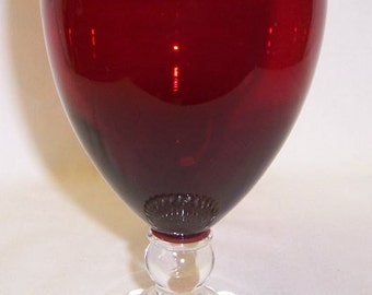 Anchor Hocking Fire King Royal Ruby Red BUBBLE 5 1/2 Inch High Water Goblet